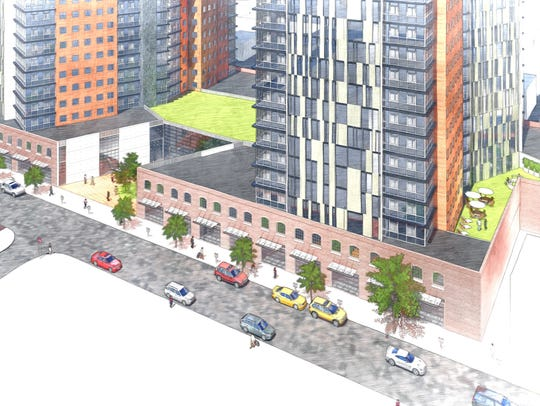 A rendering of the proposed mixed-use development at