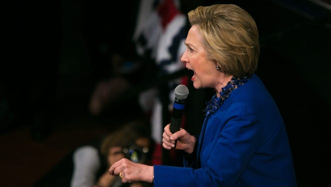 Hillary Clinton speaks at a rally in downtown Wilmington on Monday. The Delaware primary is Tuesday.