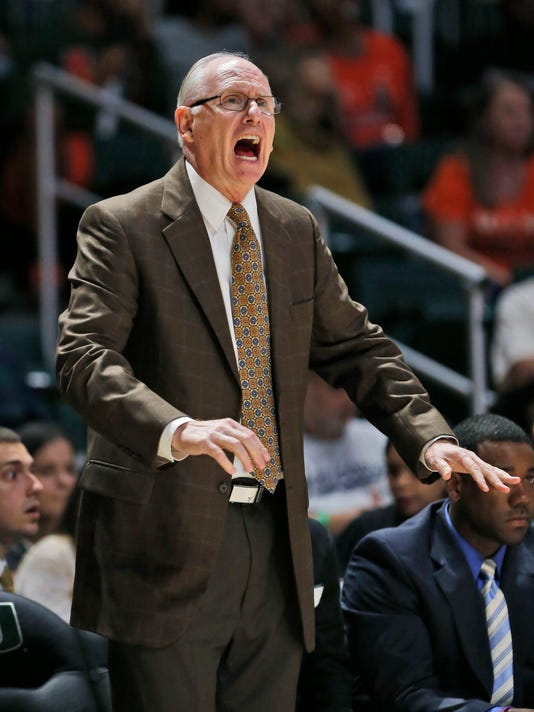 Miami head coach Jim Larranaga calls out to players during the first half of an NCAA college basketball game against Gardner Webb, Friday, Nov. 10, 2017, in Coral Gables, Fla. (AP Photo/Wilfredo Lee)