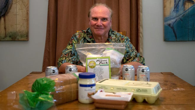 Celebration Church Pastor Gene Scott in his home in Naples, Fla., on Wednesday, Sept. 21, 2016. To raise awareness about child hunger, Scott will live on $10 worth of food this weekend, which includes hot dogs, a loaf of bread, a dozen eggs and small jar of mayo.