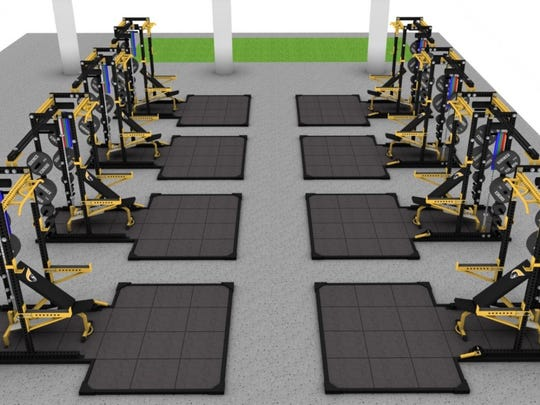 Rendering of what new weight equipment would look like for Anderson University athletics after raising money.