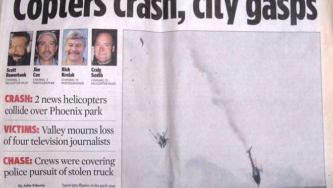 The front page of The Arizona Republic on July 28, 2007, one day after two news helicopters crashed over Phoenix.