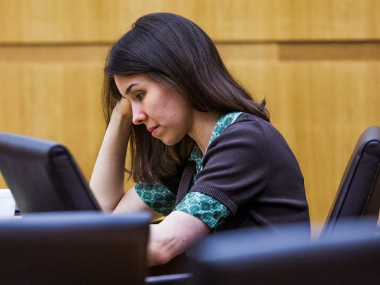 Jodi Arias looks down in Maricopa County Superior Court