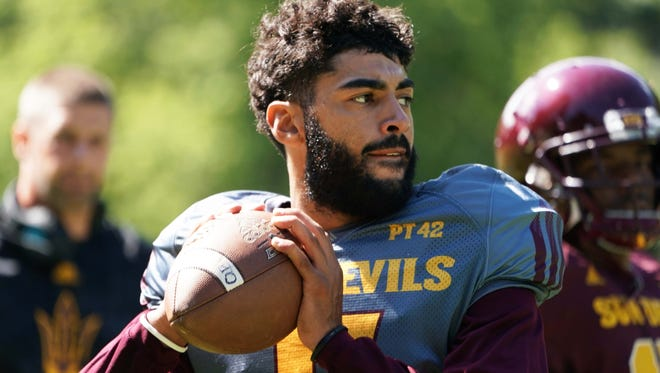 Arizona State quarterback Manny Wilkins at Camp Tontozona on Wednesday, Aug. 2 , 2017 in Kohls Ranch, Ariz.