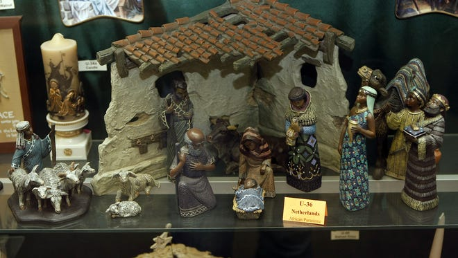 An interesting collection of pieces make up this nativity scene of African Parastone that is part of the Algoma Boulevard United Methodist Church's collection.