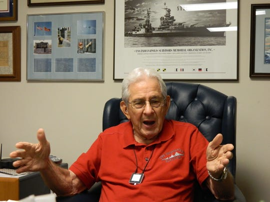 At his Clarksville home in October 2011, Edgar Harrell recounts the nearly unbelievable saga of the World War II sinking of the USS Indianapolis and the horrific ordeal that followed for the survivors.