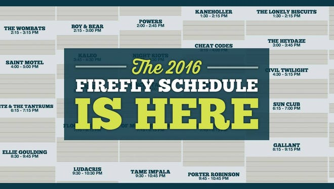 Firefly Music Festival's complete music schedule was released Wednesday afternoon.