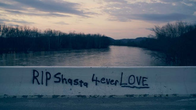 """Graffiti on Higby Bridge over the Scioto River where Shasta Himelrick's body was found in January 2014. Himelrick was one of six women profiled in the 2016's docuseries """"The Vanishing Women"""" on Investigation Discovery."""