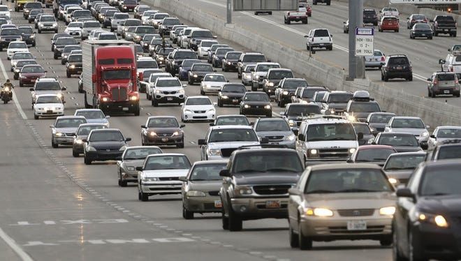 Traffic clogs Interstate 15 in Salt Lake City on May 23, 2014, ahead of the Memorial Day weekend.
