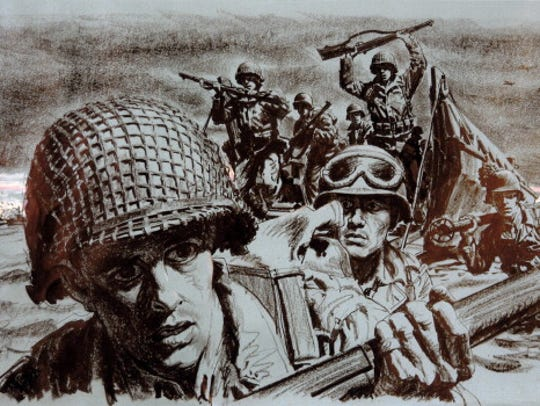 """A drawing for the U.S. Army """"Stars and Stripes"""" newspaper"""