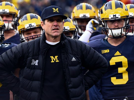 Jim Harbaugh on the sidelines against the Ohio State Buckeyes at Michigan Stadium in 2015.