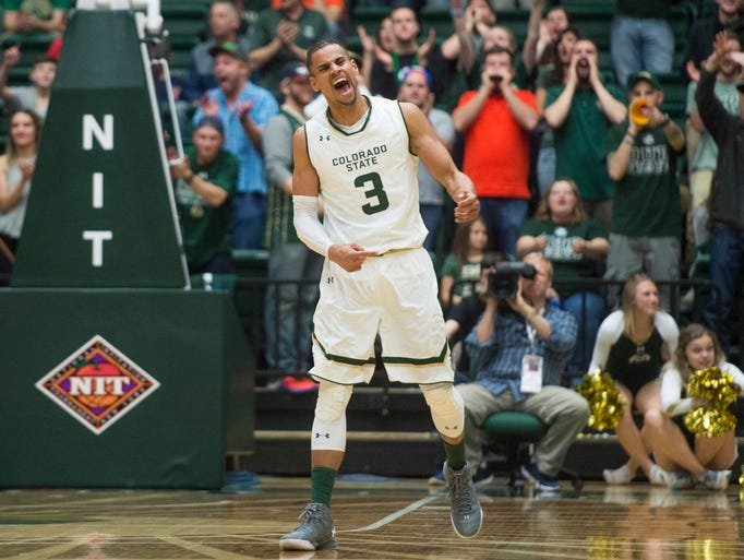 CSU guard Gian Clavell celebrates after a three point