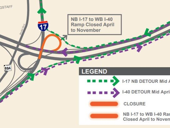 A map depicting the anticipated closures and detours