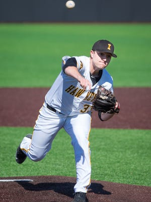 Iowa pitcher C.J. Eldred (33) throws in the top of the first inning at Duane Banks Field in Iowa City on Friday. Iowa defeated the Maryland Terrapins 8-1.