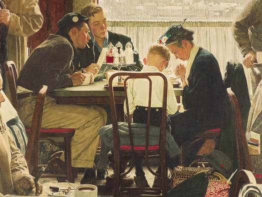 "A photograph provided by Sotheby's auction house shows the popular Norman Rockwell masterpiece ""Saying Grace."" The painting is one of seven works by Rockwell that will be for sale at Sotheby's in New York on Dec. 4."