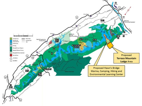 A hotel and marina are planned for Raystown Lake.