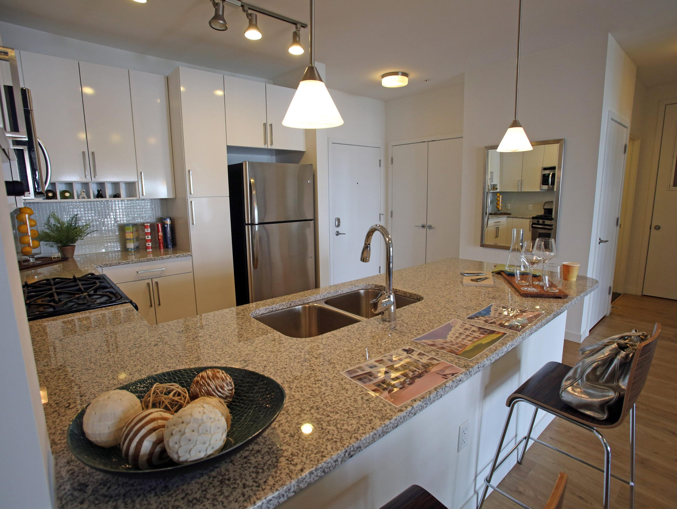This is a view of the kitchen in a two-bedroom apartment,