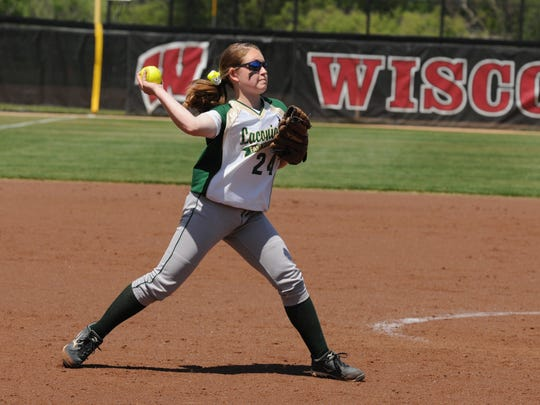 Laconia's Kayla Schwebke fields a bunt during the Spartans' game against Arcadia last June in the WIAA Division 3 title game at Goodman Diamond in Madison.
