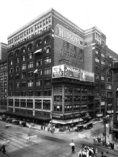 The J.L. Hudson Company department store is shown in