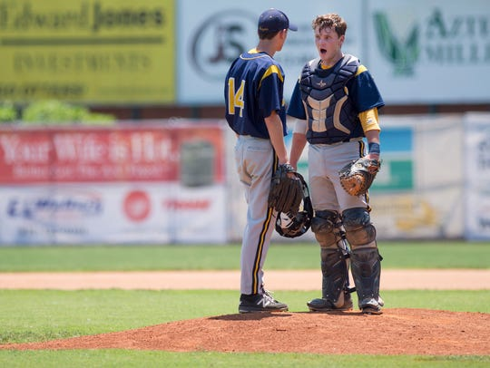 Castle catcher Nick Ciuffetelli talks with his pitcher