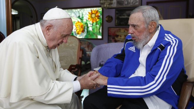In this file photo from Sept. 20, 2015, Pope Francis meets Fidel Castro in Havana.