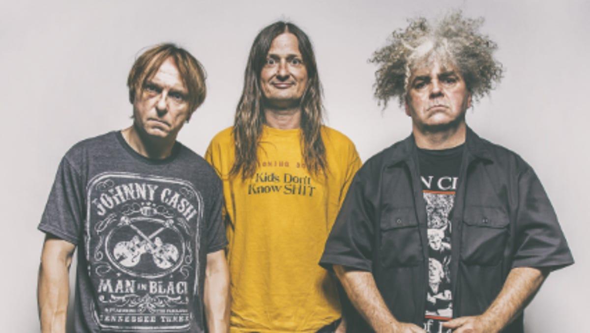 Os três indegrantes da banda The Melvins,  Buzz Osborne, SUSAN BLACK e Dale Crover