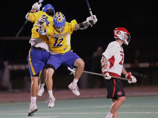 Gunnar Miller, right, celebrates a goal with teammate