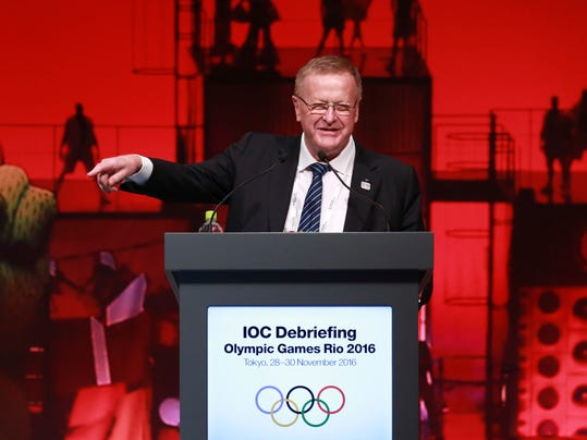 IOC Vice President John Coates delivers a speech during the closing plenary session of the IOC Debriefing of the Olympic Games Rio 2016, in Tokyo, Wednesday, Nov. 30, 2016. The three-day IOC debriefing ends Wednesday to share knowledge and experiences between the Rio Olympic Games organizers and future host cities, including Tokyo which will host the 2020 Olympics and Paralympics. (AP Photo/Eugene Hoshiko)