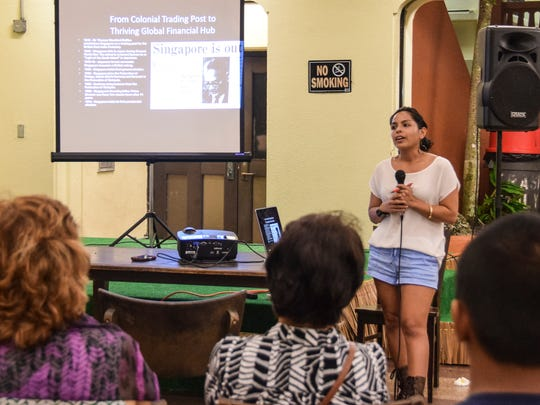 In this Sept. 22, 2015 file photo, Ana Won Pat-Borja, Independence for Guahan Task Force research committee chair, conducts a presentation during a general assembly at the Chamorro Village in Hagåtña.