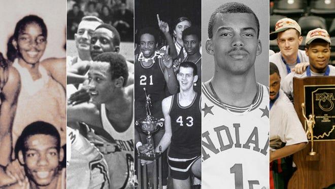 From left: Crispus Attucks, 1955; Indianapolis Washington, 1969; East Chicago Washington, 1971; Jay Edwards of Marion, 1987; Lawrence North, 2006.