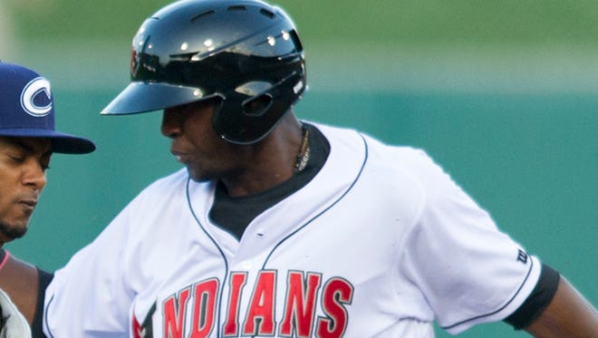 Alen Hanson hit an inside-the-park home run for the Indianapolis Indians against the Columbus Clippers on July 1, 2015 at Victory Field.