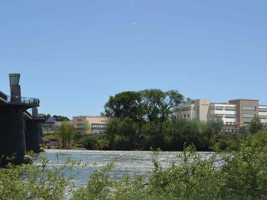 This artist's rendering shows how the Dignity project would look from the other side of the Sacramento River.