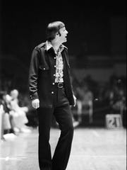 Kentucky Colonels coach Hubie Brown on the sideline of a playoff game against the St. Louis Spirits.  April 23, 1975
