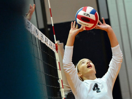 West York's Trilby Kite sets the ball at the net for