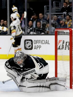 Los Angeles Kings goaltender Jonathan Quick reacts after Vegas Golden Knights left wing James Neal scores during the third period of Game 3.