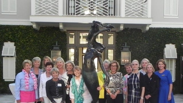 2018 Connecting for Cancer Girls' Night Out  committee members are, from left: Deedee Cunningham, Ronnie Weyrauch, Annette Lovell, Marilyn Kinsella, Joanne Dorey, Carole Finck, Pat Scott, Nancy Cruce, mermaid, Kay Falise, Bonnie Davis, Gerry Collins, Carrol Spurgeon, Colette Kennedy, Dorsey Seed and Lynda Stinson.