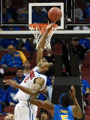 SMU's Yanick Moreira is called for goaltending in the final seconds of the game against UCLA.