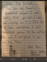 A 9-year-old Sixers fan wrote Joel Embiid a sweet note after seeing her favorite player cry