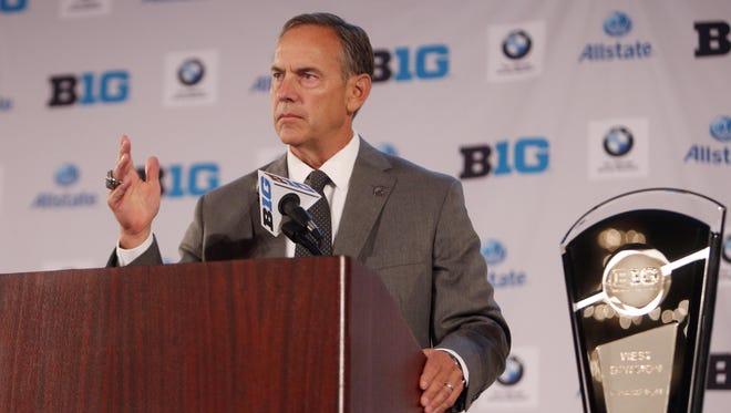 Michigan State Spartans head coach Mark Dantonio addresses the media during the Big Ten football media day at Hilton Chicago.
