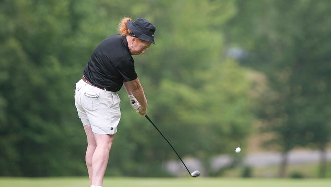 Holly Reynolds tees off the ninth hole during the Vermont Women's Amateur championship at Green Mountain National Golf Course in Killington on Wednesday.