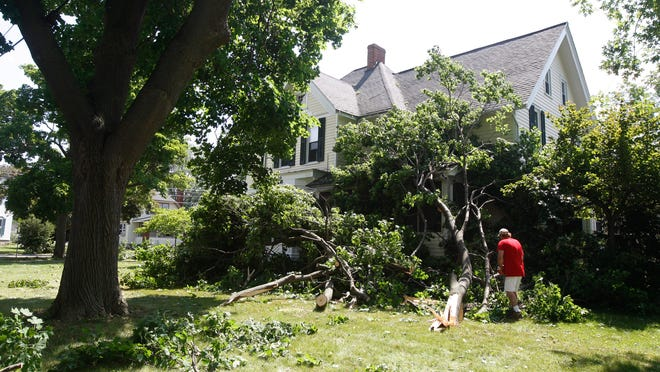 Bob Webster of Honeoye Falls works Wednesday on removing downed tree limbs from a  home on Ontario Street in Honeoye FAlls after a strong storm came through Tuesday.