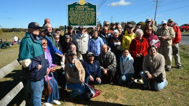 Vermonters gather Oct. 19 in front of the new marker about the role of Vermont soldiers in the Battle of Cedar Creek in Middletown, Virginia.