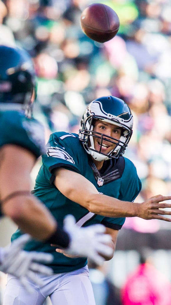 Philadelphia Eagles quarterback Sam Bradford delivers a pass to tight end Zach Ertz in the fourth quarter of the Eagles 39-17 win over the Saints at Lincoln Financial Field in Philadelphia on Oct. 11.