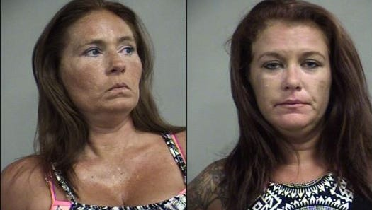 Shawna Clark, left, and Nicole Welker, right, are accused of stealing $1,100 in items from Kentucky Kingdom.