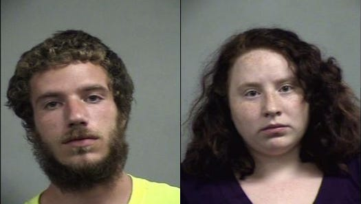 Taz Osgood, left, and Alexia Cook, right, were arrested after police said they found their child living in unsafe conditions.
