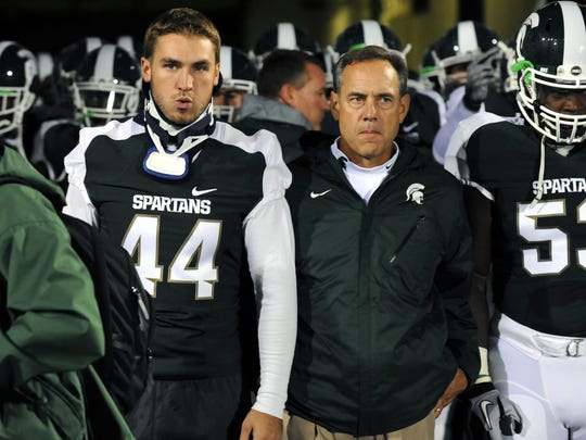 Injured MSU fullback Josh Rouse and head coach Mark