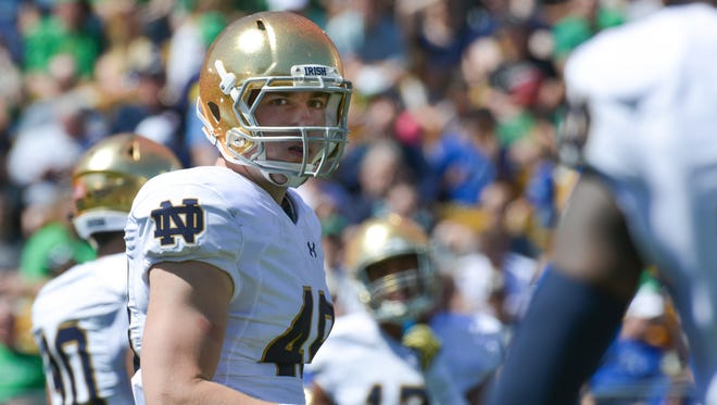 Former Harper Creek standout Brandon Hutson played his first game for Notre Dame earlier this month.