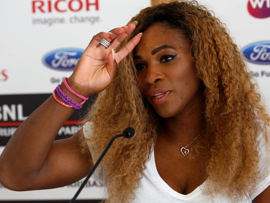 Serena Williams, of the United States, attends a press conference ahead of her participation to the Italian open tennis tournament, in Rome, Monday, May 12, 2014. (AP Photo/Riccardo De Luca)