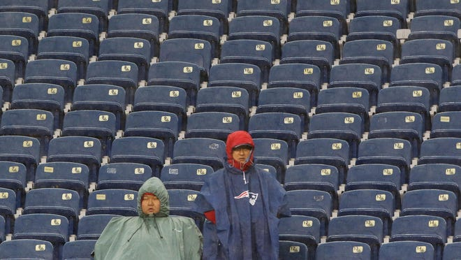 Gillette Stadium could end up looking a little more like it did in the early stages of last season's wet and rainy game against Cleveland than it normally does. Tuesday the New England Patriots announced if fans were allowed, the stadium would play to a max capacity of 20 percent.