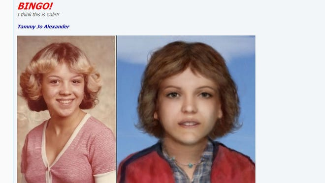 Carl Koppelman's posting on websleuths.com when he matched Tammy Jo Alexander, left, with his rendering of Cali, right.